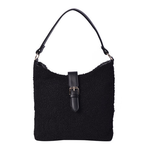 Faux Fur Shoulder Bag (26x24x5cm) with Clasp Closure - Black