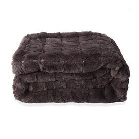Serenity Night Jacquard Faux Fur Sherpa Blanket (150x200cm) - Dark Grey