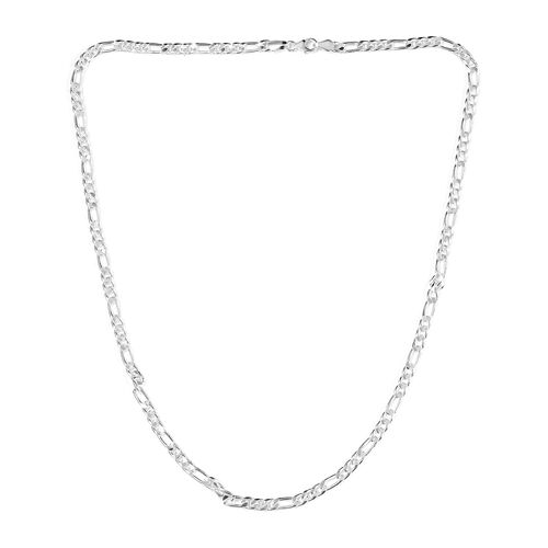 Sterling Silver Figaro Chain Necklace (Size 24), Silver wt. 29.37 Gms