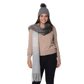 2 Piece Set - 1 Knitted Pompom Hat (Size 22x14 Cm) and 1 Scarf with Tassels (Size 40x200 Cm) - Grey