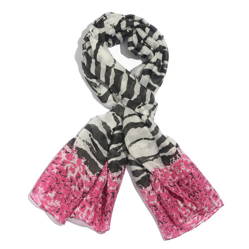 100% Mulberry Silk Black and Pink Colour Printed White Colour Pareo (Size 175x100 Cm)