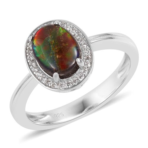 AA Canadian Ammolite (Ovl 9x7mm), Natural White Cambodian Zircon Ring in Rhodium Plated Sterling Silver 1.800 Ct.