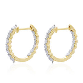 0.50 Ct Diamond Hoop Earrings with Clasp in 9K Yellow Gold SGL Certified I3 GH