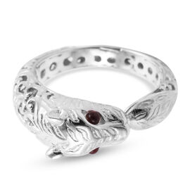 Royal Bali Collection Mozambique Garnet Leopard Ring in Sterling Silver