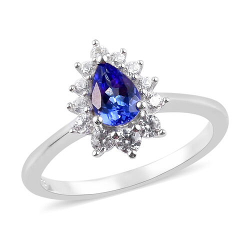 AAA Tanzanite and Natural Cambodian Zircon Halo Ring in Platinum Overlay Sterling Silver