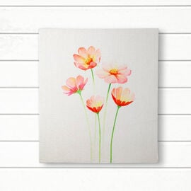 Wooden Framed Canvas Digital Floral Print Wall Painting (Size 43.3x38cm) - Ivory & Multi