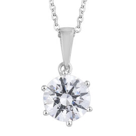 J Francis - Platinum Overlay Sterling Silver (Rnd 8 mm) Pendant With Chain (Size 20) Made with SWAROVSKI ZIRCONIA