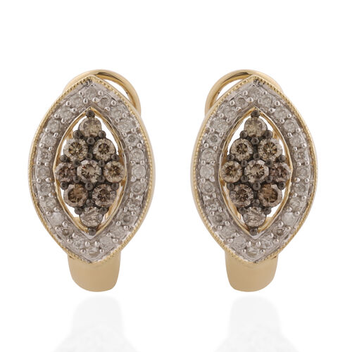 9K Yellow Gold Champagne Diamond and Natural White Diamond Earrings (with French Clip) 1.00 ct, Gold