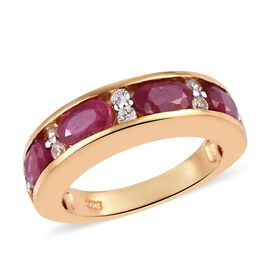 African Ruby (Ovl 6x4 mm), Natural Cambodian Zircon Half Eternity Band Ring in 14K Gold Overlay Ster