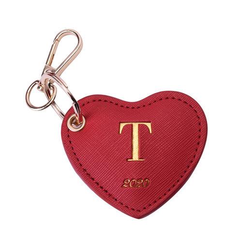 Christmas Edition 100% Genuine Leather Alphabet Red Heart Handbag Charm/Key Chain - T