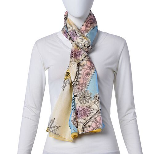 One Time Only - Close Out Deal 100% Mulberry Silk Blue, Yellow and Multi Colour Floral Heels Pattern Scarf (Size 180X110 Cm)