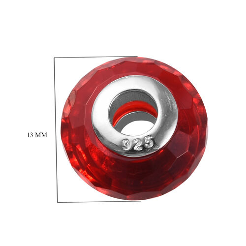 Charmes De Memoire Red Murano Style Glass Bead Charm in Platinum Overlay Sterling Silver
