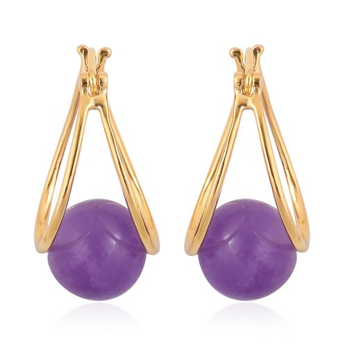Super Auction -  Purple Jade (Rnd 10 mm) Hoop Earrings (with Clasp) in Yellow Gold Overlay Sterling Silver 17.000 Ct.