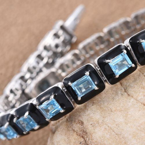 GP Electric Swiss Blue Topaz (Bgt), Kanchanaburi Blue Sapphire Tennis Bracelet (Size 7.5) in Platinum Overlay Sterling Silver 11.020 Ct. Silver wt 22.55 Gms.