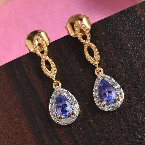 AA Tanzanite and Natural Cambodian Zircon Drop Earrings (with Push Back) in 14K Gold Overlay Sterling Silver 0.77 Ct.
