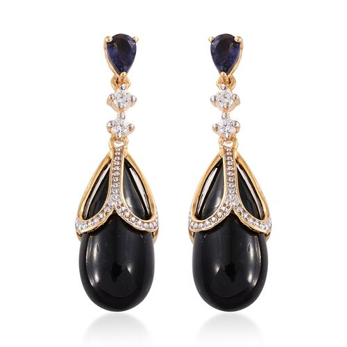 GP Boi Ploi Black Spinel, Iolite, Natural Cambodian Zircon and Kanchanaburi Blue Sapphire Earrings (with Push Back) in 14K Gold Overlay Sterling Silver 35.000 Ct.