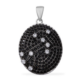 Natural Boi Ploi Black Spinel (Rnd), Combodian Zircon Pendant in Rhodium and Black Overlay Sterling