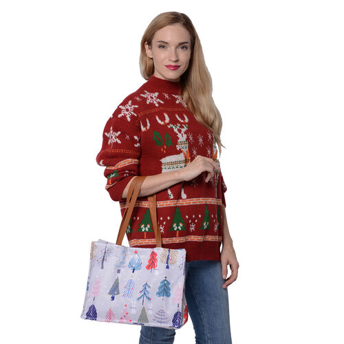 Christmas Theme - Multi Colour Tree print Tote Bag with Zipper Closure (33x12.5x25cm) - Light Grey
