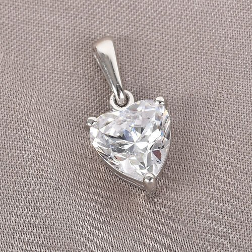 J Francis Platinum Overlay Sterling Silver Heart Pendant Made with SWAROVSKI ZIRCONIA 3.23 Ct.