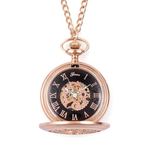 GENOA Automatic Skeleton Water Resistant Pocket Watch with Chain (Size 32) in RoseTone
