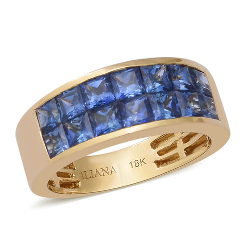 ILIANA 18K Yellow Gold AAAA Royal Ceylon Sapphire Two Row Half Eternity Ring 2.03 Ct, Gold wt. 4.05