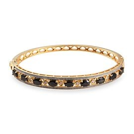 2.75 Ct Elite Shungite and Zircon Stacker Bangle in 14K Gold Plated Silver 18.60 Grams 7.5 Inch