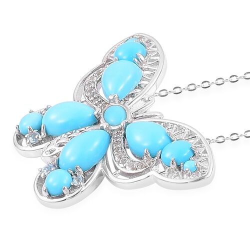 Arizona Sleeping Beauty Turquoise (Pear), Natural White Cambodian Zircon Butterfly Pendant With Chain in Rhodium Plated and Platinum Overlay Sterling Silver 5.160 Ct. Silver wt 6.78 Gms.