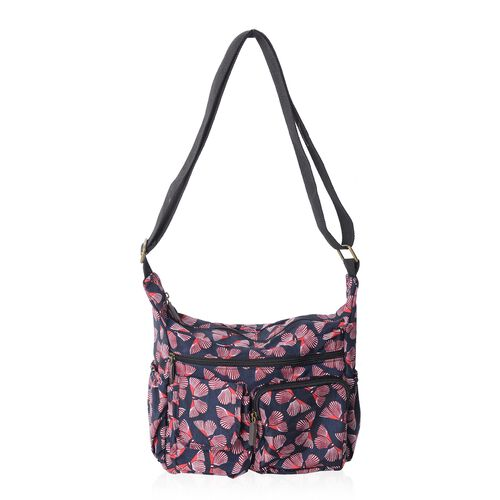 Annabelle Navy Colour Butterfly Pattern Water Resistant Cross Body Bag with Adjustable Strap