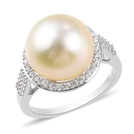 White South Sea Pearl and Natural Cambodian Zircon Ring in Platinum Overlay Sterling Silver
