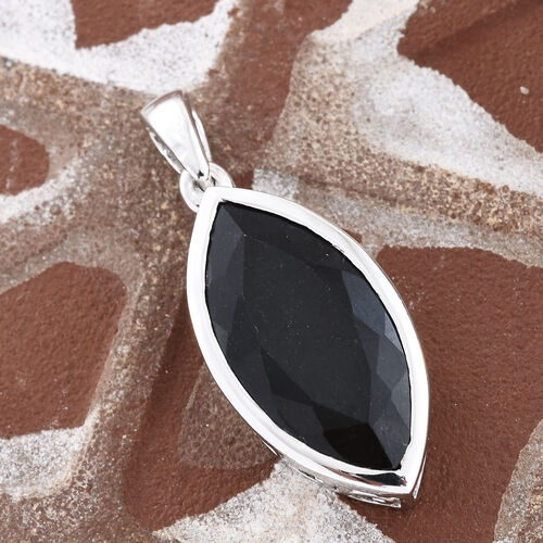 Black Tourmaline (Mrq) Pendant in Platinum Overlay Sterling Silver 8.750 Ct.
