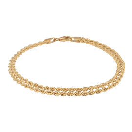 Vicenza Collection - 9K Yellow Gold Double Rope Heart Bracelet (Size 7.5) with Lobster Clasp