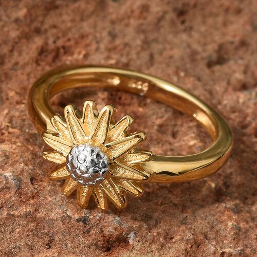 14K Gold Overlay Sterling SIlver Daisy Flower Ring