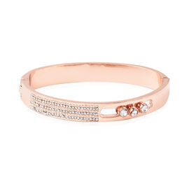 White Austrian Crystal (Rnd) Hinged Bangle (Size 6.75) in Rose Gold Tone