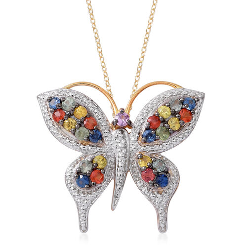 Designer Inspired-Rainbow Sapphire Butterfly Pendant with Chain in 14K Gold Overlay Sterling Silver 2.750 Ct. Silver wt 7.5 Gms.