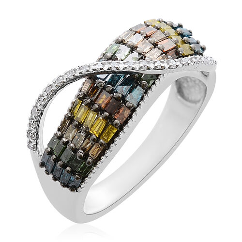 Rainbow Diamond (Bgt) Ring in Platinum Overlay Sterling Silver 1.000 Ct, Silver wt 5.50 Gms