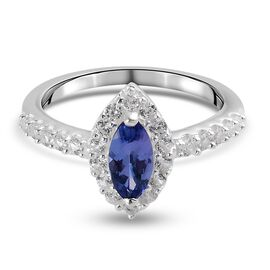 Tanzanite and Natural Cambodian Zircon Ring in Sterling Silver