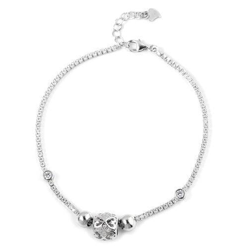 ELANZA Simulated Diamond (Rnd) Bracelet (Size 7.5) in Rhodium Overlay Sterling Silver, Silver wt 5.38 Gms