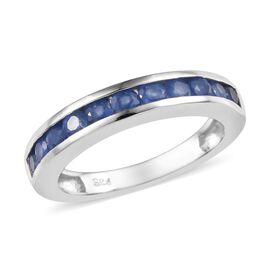 Burmese Blue Sapphire (1.00 Ct) Platinum Overlay Sterling Silver Ring  1.000  Ct.