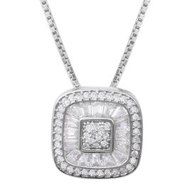 ELANZA Simulated Diamond (Rnd and Bgt) Necklace (Size 18 with 2 Inch Extender) in Sterling Silver, Silver wt 5.30 Gms.