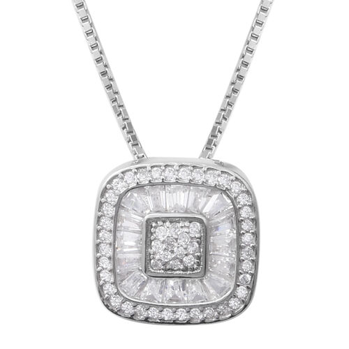 ELANZA Simulated Diamond (Rnd and Bgt) Necklace (Size 18 with 2 Inch Extender) in Sterling Silver, S