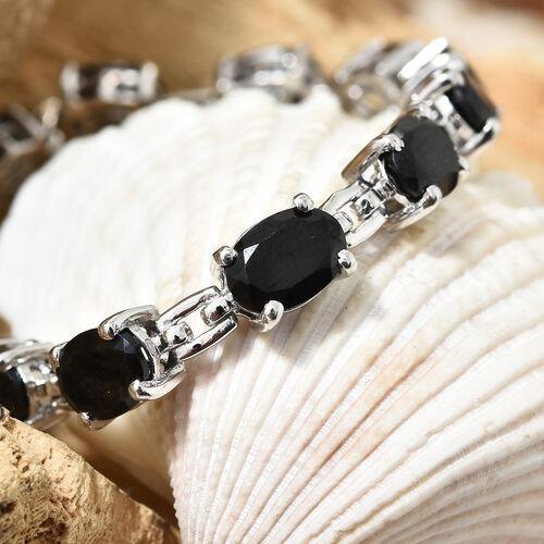 Boi Ploi Black Spinel (Ovl) Bracelet (Size 7.5) in Platinum Overlay Sterling Silver 13.250 Ct.