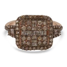 9K Rose Gold SGL Certified Natural Champagne Diamond (I3) Fancy Boat Ring 1.00 Ct.