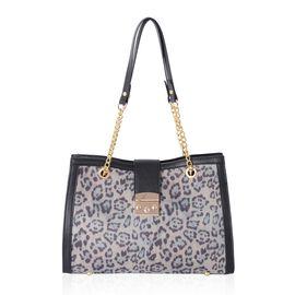 Beige Colour Leopard Pattern Tote Bag (Size 34x24x11 Cm)