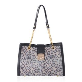 One Time Deal-Grey Colour Leopard Pattern Tote Bag (Size 34x24x11 Cm)