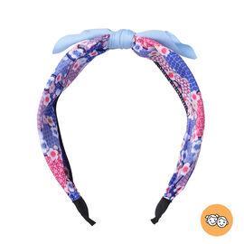 Flower Pattern Knot Headband in Blue Colour (Size 39.4x5 Cm)