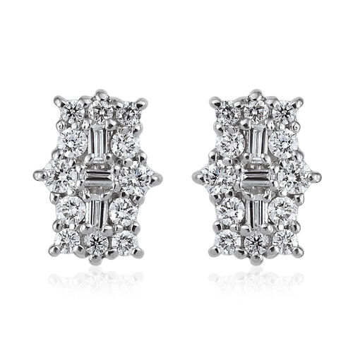 RHAPSODY 0.50 Ct Diamond Boat Cluster Earrings in 950 Platinum IGI Certified VS EF