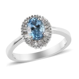 ILIANA 18K White Gold AAA Santa Maria Aquamarine (Ovl 7x5mm), Diamond (SI/G-H) Ring 1.00Ct.