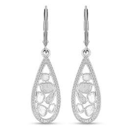 Artisan Crafted Polki Diamond Lever Back Earrings in Platinum Overlay Sterling Silver 0.50 Ct.