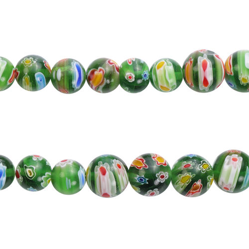 3 Piece Set -  Green Murano Style Glass Necklace (Size 20 with Magnetic Lock), Stretchable Bracelet (Size 6.5) and Hook Earrings