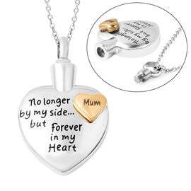 2 Piece Set - Engraved Memorial Mum Heart Pendant with Chain (Size 20) and Funnel with Needle in Dua
